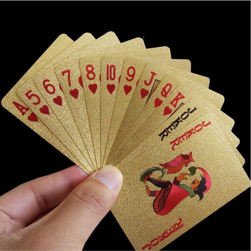 Carte da gioco d'oro 24 carati Gioco da tavolo Poker d'oro Carte da poker Carte magiche di plastica Carte impermeabili Magia