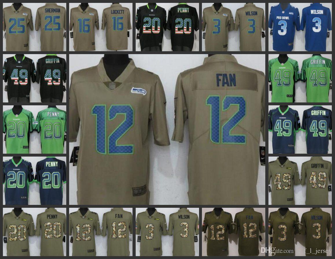 2018 Seattle Seahawks Embroidery Man Jersey #3 Russell Wilson 12