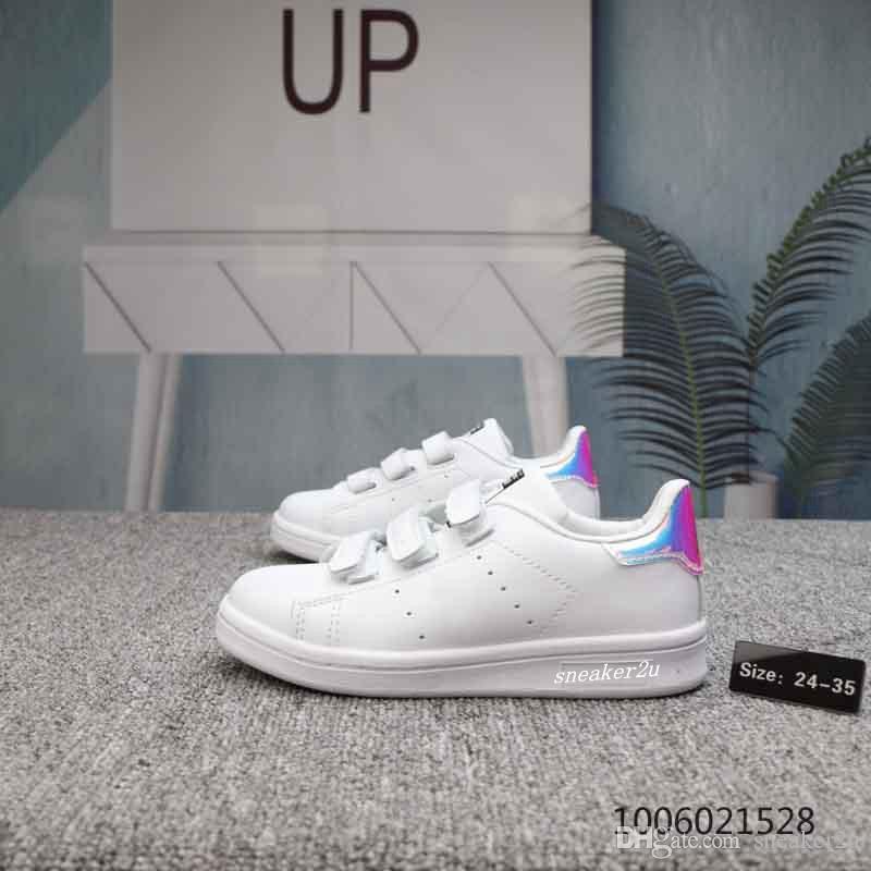 2018 niños Stans Smiths CF Zapatos de caminar unisex Zapatos formadores causales de moda para niños niños niñas tamaño euro 24-35
