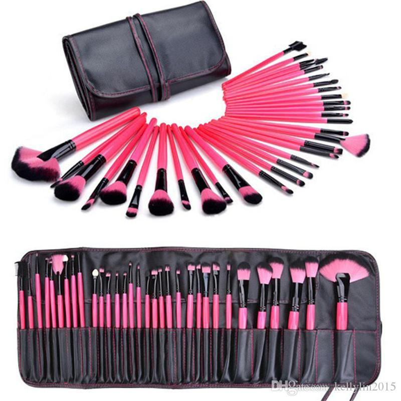 Make-upbürsten-Sätze 32 PC professionelle volle kosmetische Bürste für Grundlagenlidschatten-Lippenpuder bilden Bürsten-Werkzeuge mit Fällen Tasche