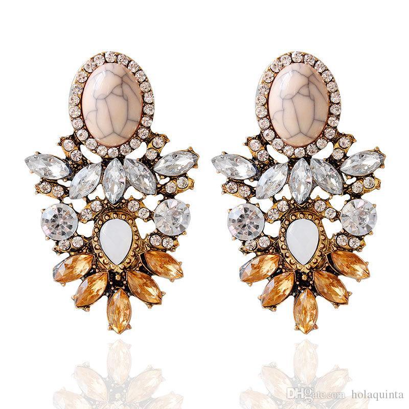 Boucle d'oreille en cristal de bonne qualité de grande pierre 2017 Nouvelle déclaration de mode boucles d'oreilles pour les femmes