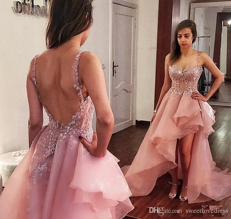 Gorgeous Blush Pink Spaghetti Prom Dresses For Junior With Lace Applique Organza Draped Backless Asymmetrical Formal Pageant Dress