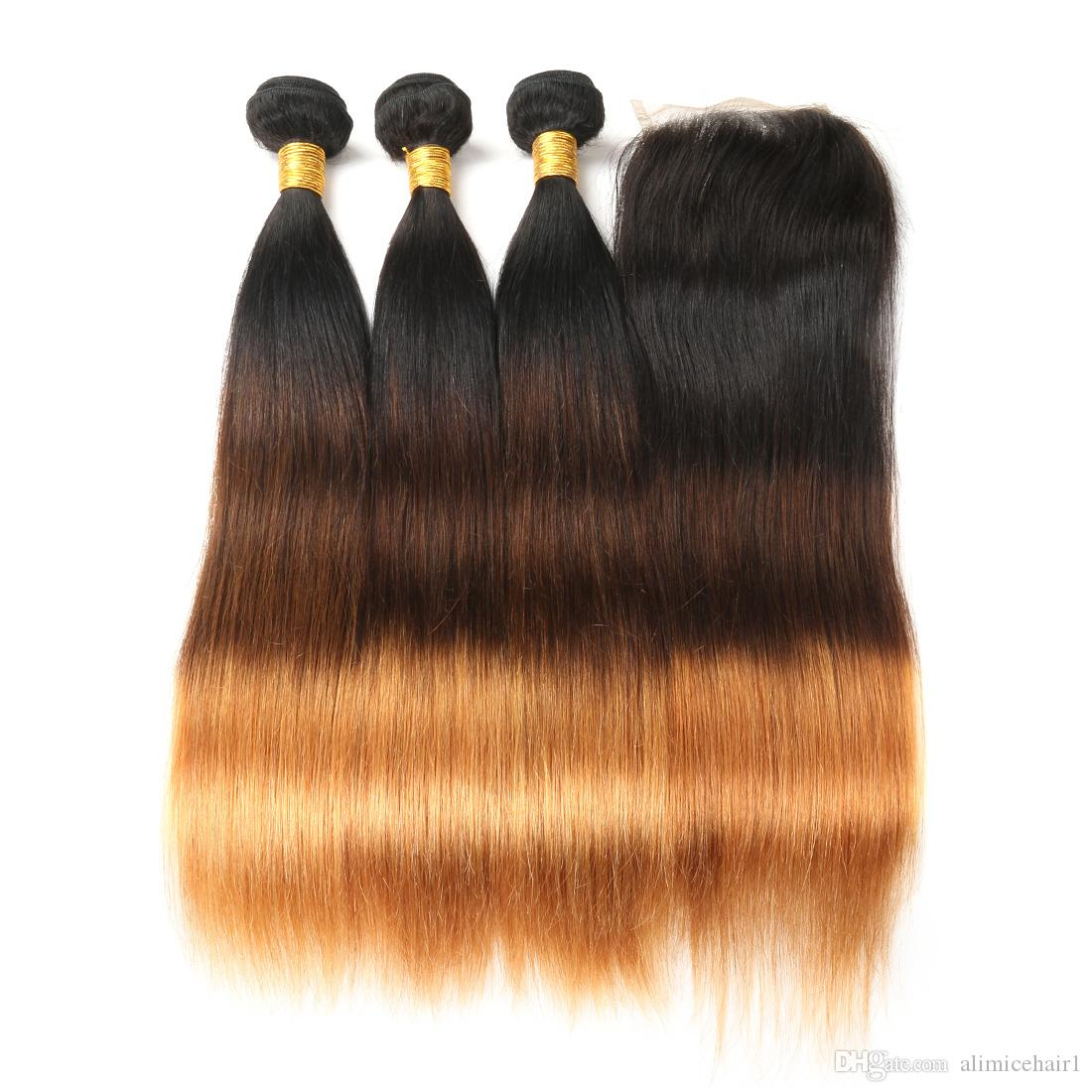 Ombre Brazilian Human Hair Bundles With Closure Straight Hair 3 Bundles With Lace Closure Honey Blonde Non-Remy Hair Extension