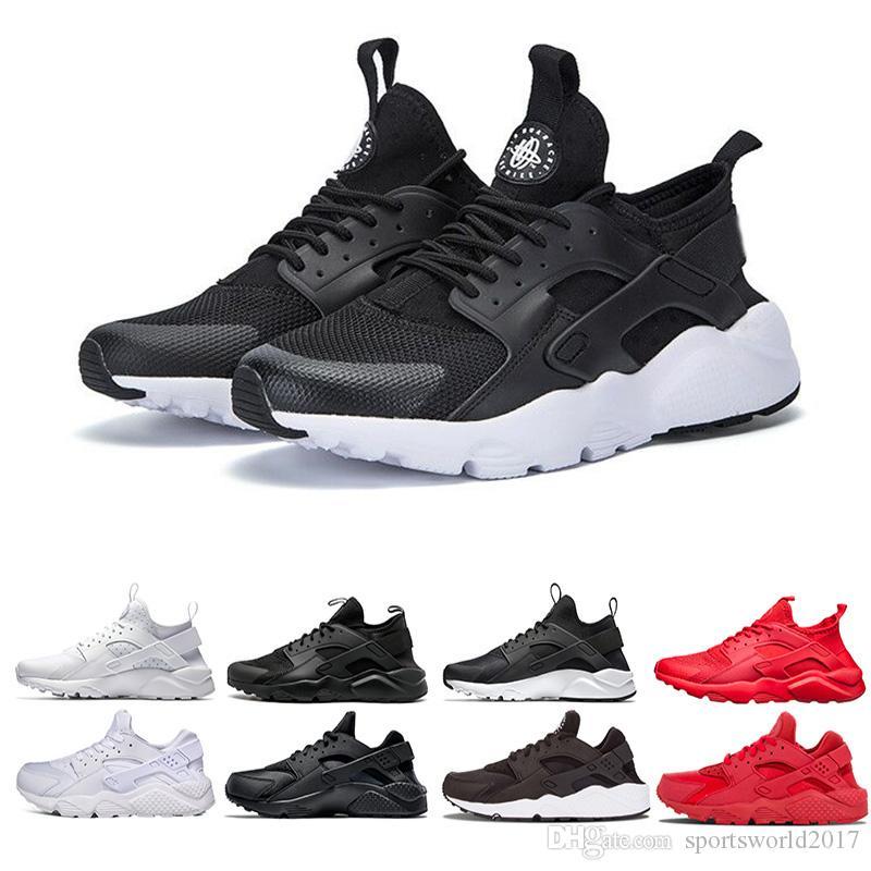 الجملة huarache 4 1 الاحذية للرجال إمرأة أبيض أسود أحمر حذاء الثلاثي المدربين رجل الرياضة مصمم أحذية رياضة zapatos
