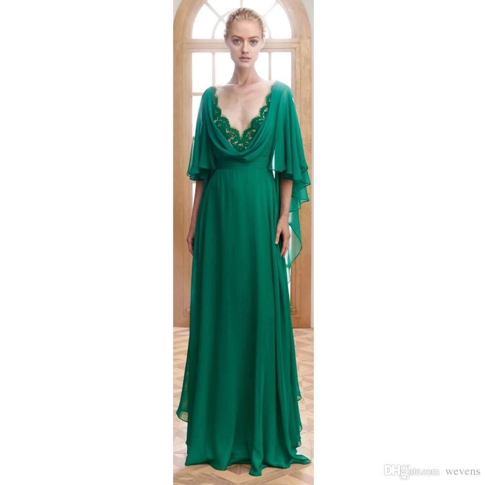 Grüne A-Linie Chiffon Abendkleider tiefem V-Ausschnitt mit halber Hülse drapiert formelle Abnutzung bodenlangen Abschlussball-Kleider