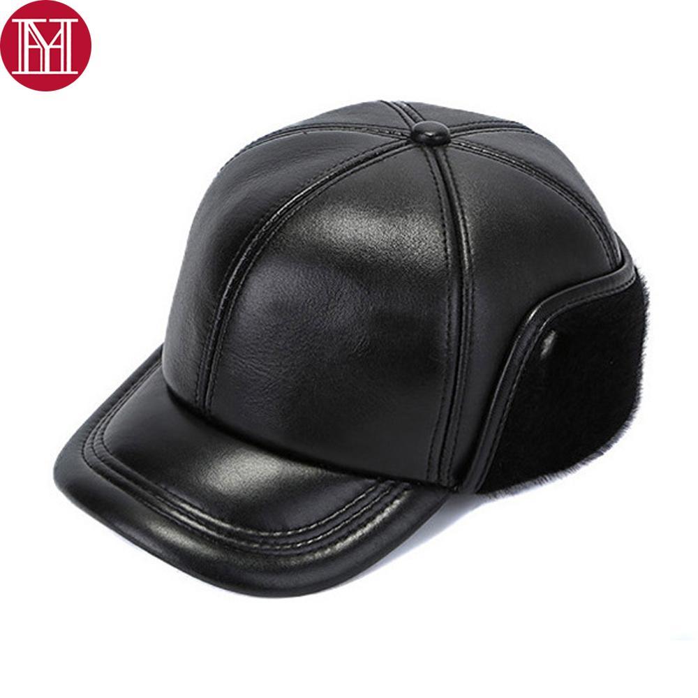 Nuevo otoño invierno hombres piel de oveja genuina auténtica gorras de béisbol de cuero masculino caliente verdadera piel de oveja sombreros Earlap Cap