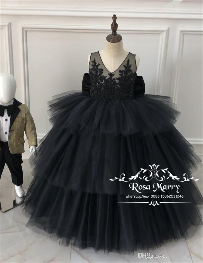 Luxury Black Girls Pageant Dresses 2020 Ball Gown Vintage Lace Sequined Beaded Plus Size Tulle Skirt Girls Birthday First Communion Gowns