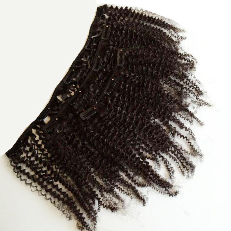 Peruano afro crespo cabelo encaracolado clipe barato em extensões de cabelo humano 100g 8 pcs grampo de cabelo humano em extensões