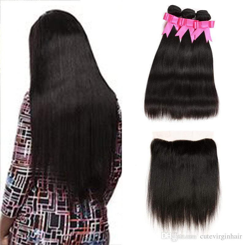 Peruvian Straight Virgin Hair 3Pcs Bundles With 13x4 Ear to Ear Lace Frontal Closure Unprocessed Peruvian Human Hair Weaves Cheap Deals