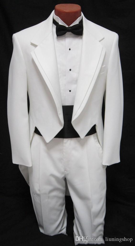 custom suit Men's boys White Tuxedo Tailcoat Dance Costume Tux Tails Coat Bridegroom wedding suits(Jacket+Pants++belt+bow) Free Shipping