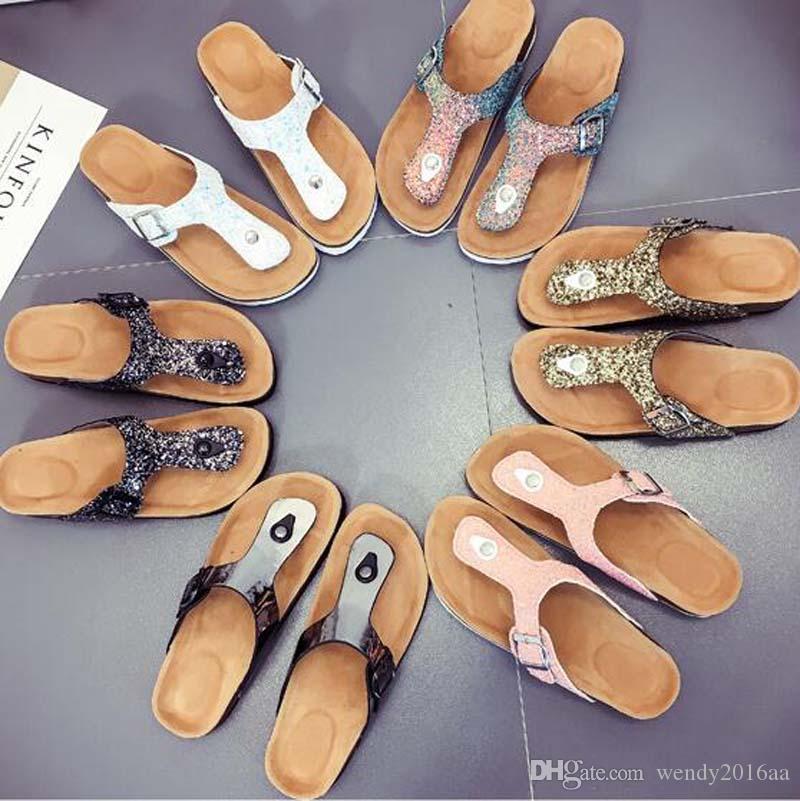 30pairs Sıcak yaz Kadınlar sandalet Mantar terlik rahat ayakkabı karışık renkler boyutu 35-44 yazdırmak unisex yassı