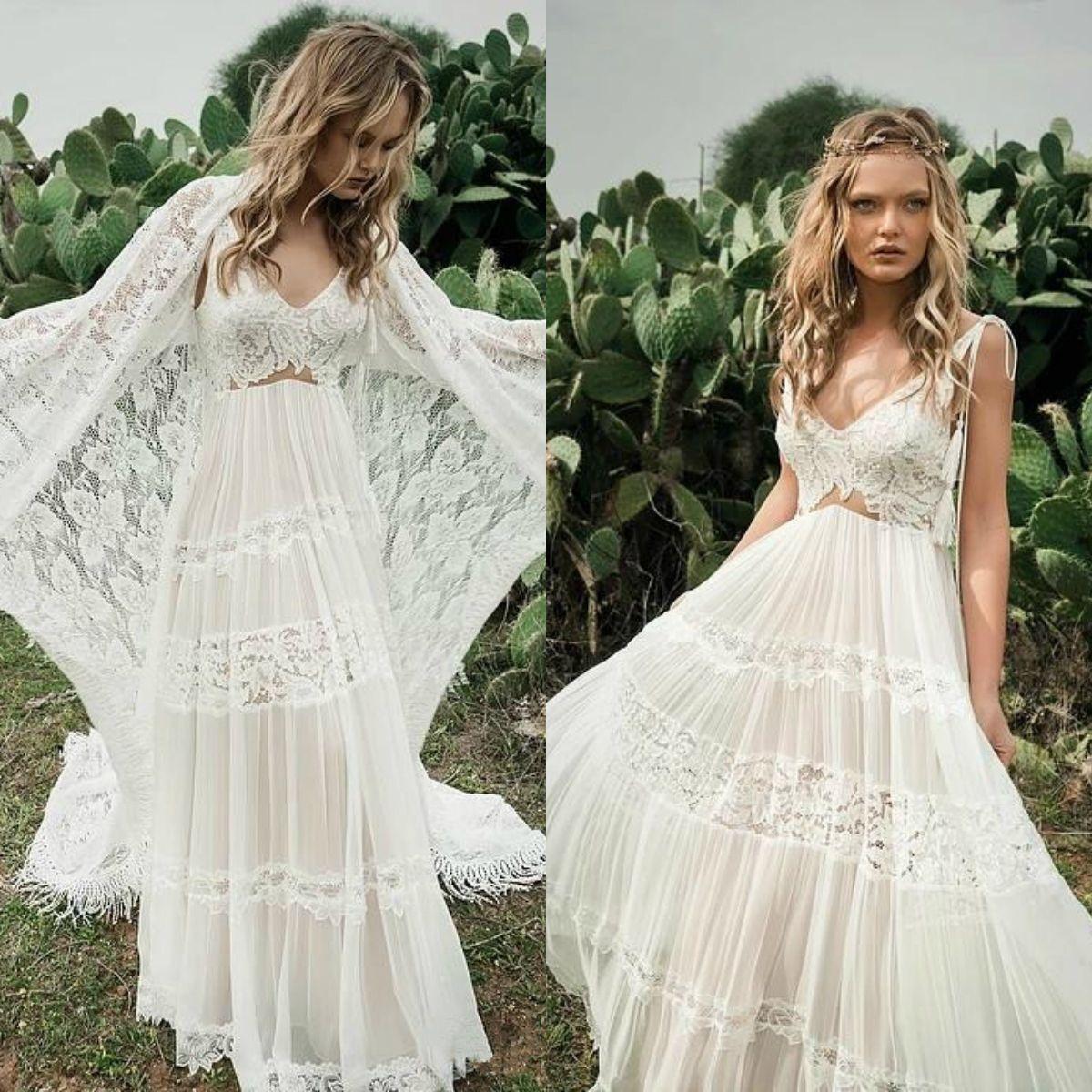 2018 Bohemian Beach Wedding Dresses With Cape Lace Applique V Neck Boho Bridal Gowns A Line robe de mariée