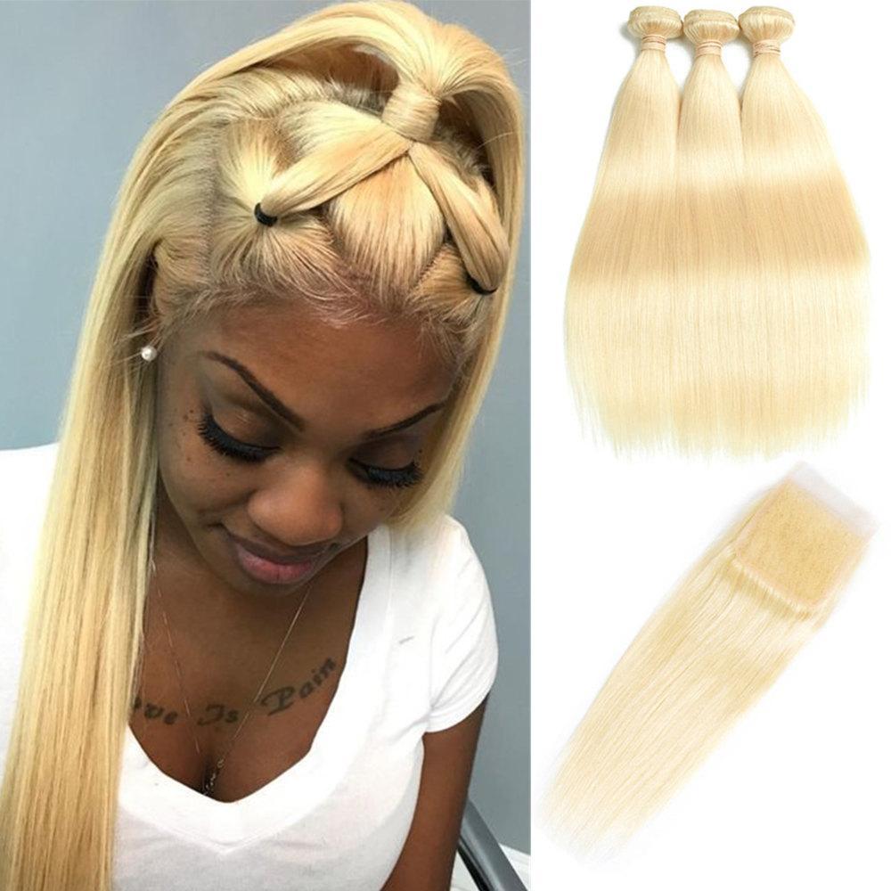 브라질 613 스트레이트 인간의 머리카락 묶음 100 % 처리되지 않은 버진 헤어 3 번들과 레이스 클로저 허니 플래티넘 헤어 익스텐션