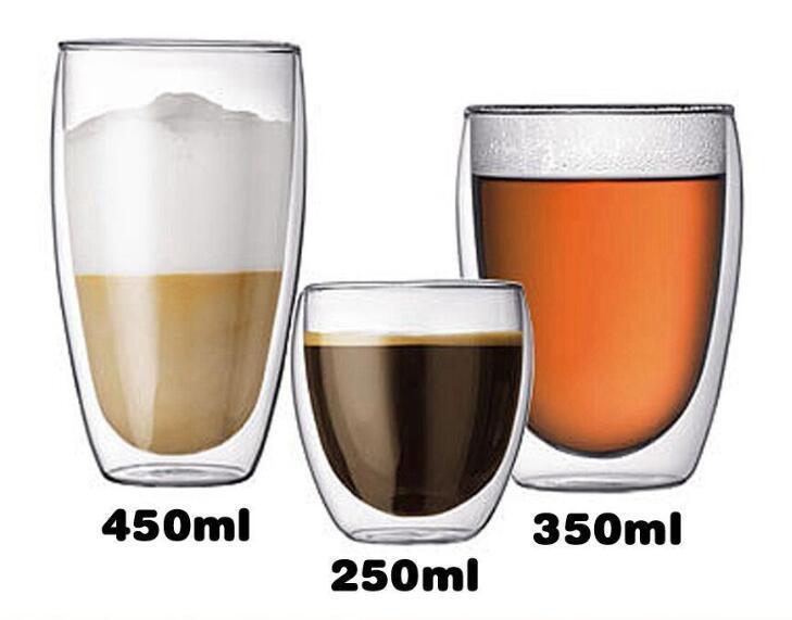 Tasse de verre à bière double couche résistant à la chaleur tasse à la main fait à la main en verre exquis tasse en verre Materal Taille multi