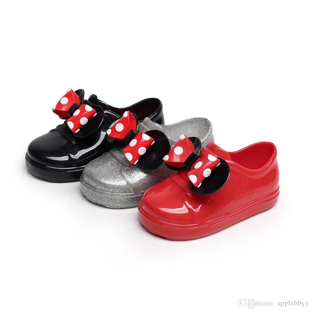 Mini Meliss Jelly plastic boys and girls bow wave shoes shoes strap waterproof non-slip boys shoes DHL free shipping