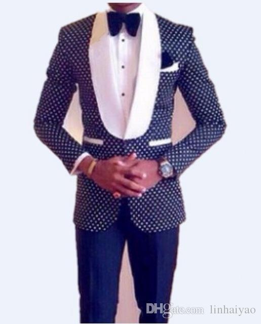 Slim Fit Groomsmen xale branco lapela do noivo smoking azul marinho / Black Men Suits Wedding Best Man (Jacket + Calças + Tie + lenço)