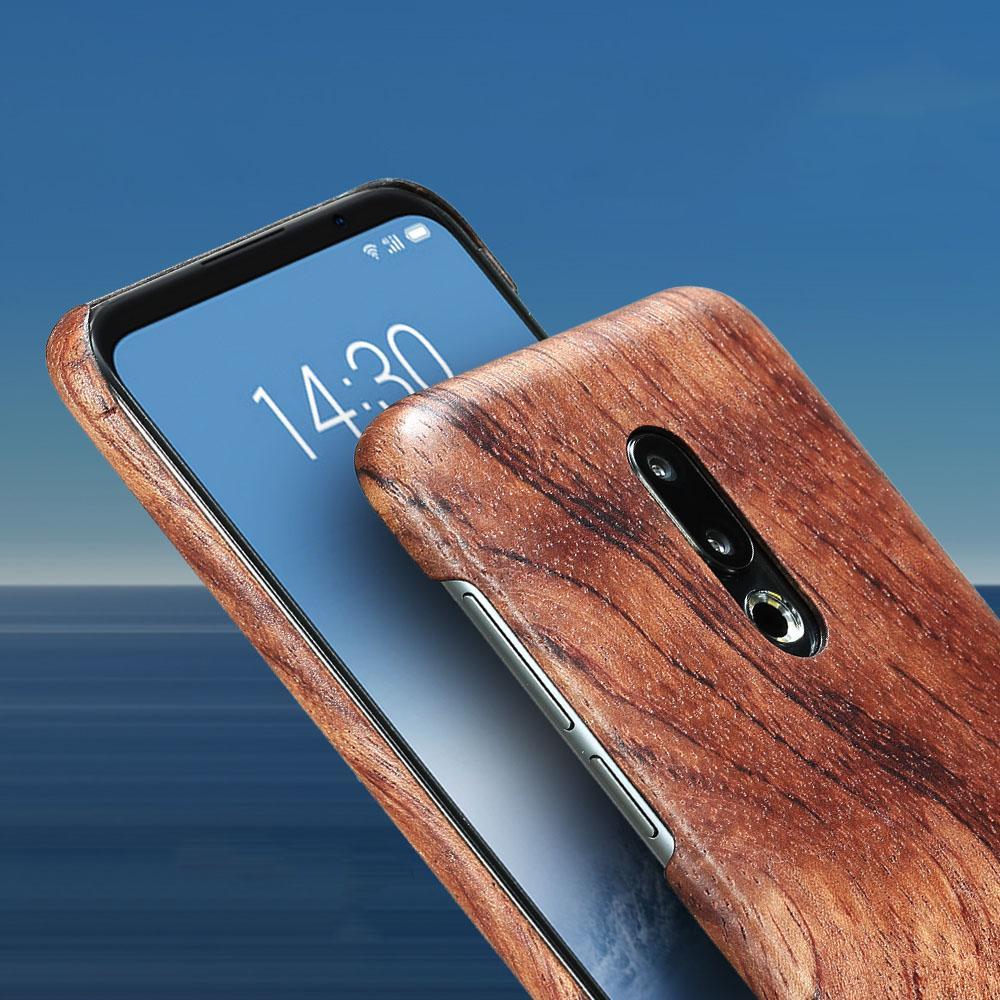 Natural de madeira phone case para meizu 16 16 plus case capa de bambu / noz / jacarandá / madeira de gelo preto / shell (madeira real)