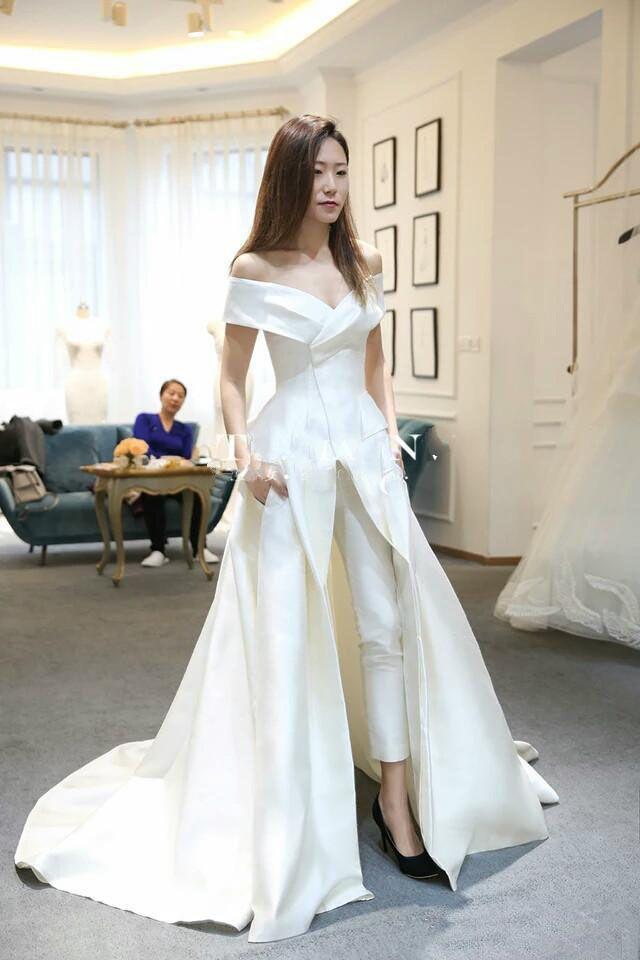 2019 Off Shoulder Formal Dresses Evening Wear with Pant Suit Custom Make Vestidos Festa Women Fashion Occasion Garment Elegant Prom Dress