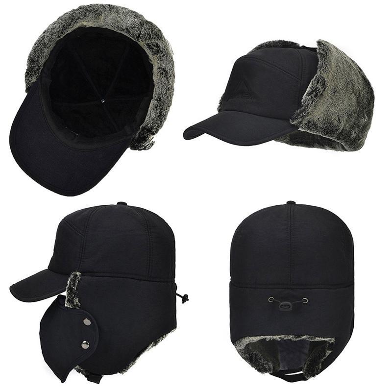 Водонепроницаемый Супер Теплый Ловец Trooper ушанки Bomber искусственного меха Подкладка Ski Hat Cap Женщины Мужчины Зима Hat Bomber