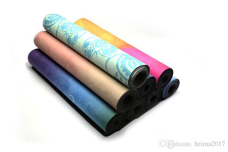 Personalizzati personalizzati per il fitness yoga naturale gomma scamosciata stampa antiscivolo ad alta densità yoga mat all'ingrosso