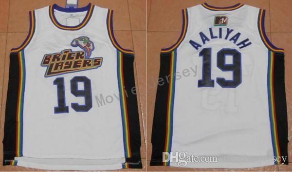 I più nuovi 19 Aaliyah Bricklayers maglie 1996 MTV Rock N Jock Aaliyah Jersey moda uomo commerci all'ingrosso prezzo più basso spedizione gratuita