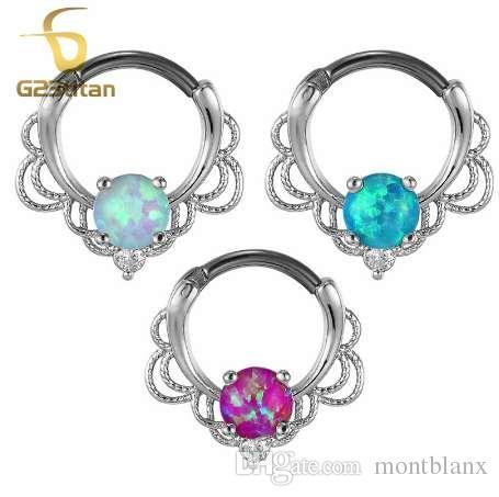 G23titan Anillos de Ópalo de Color Oro Rosa para Piercing Septum Pendiente Ear Tunnel 16G Titanio Poste Natural Opal Piedra Septum Clicker