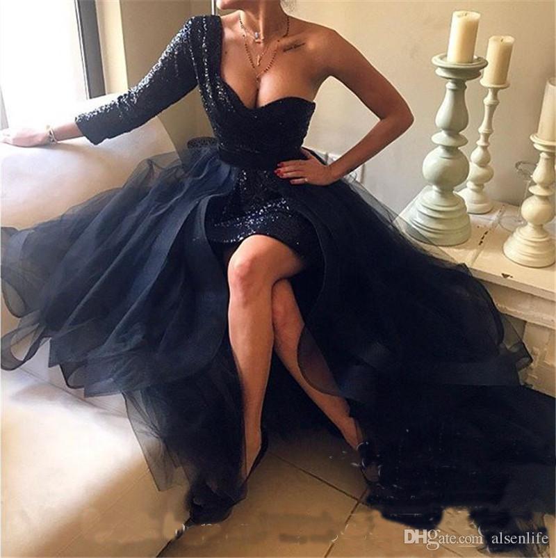 Robes de bal courtes pailletées noires avec jupe détachable 2018 Une ligne manches longues Plus Size Robes africaines arabe