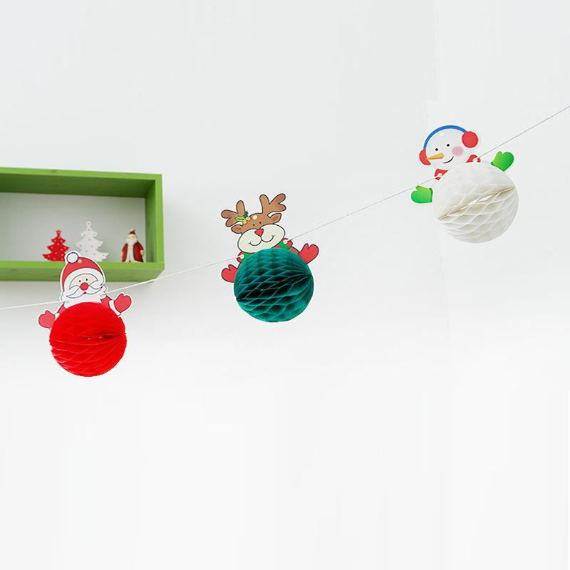 Christmas Decorations,Cartoon Santa Snowman,Artistic conception, Paper Ball, Pull Flowers, Holiday Venue, Paper, Strips, Christmas Supplies