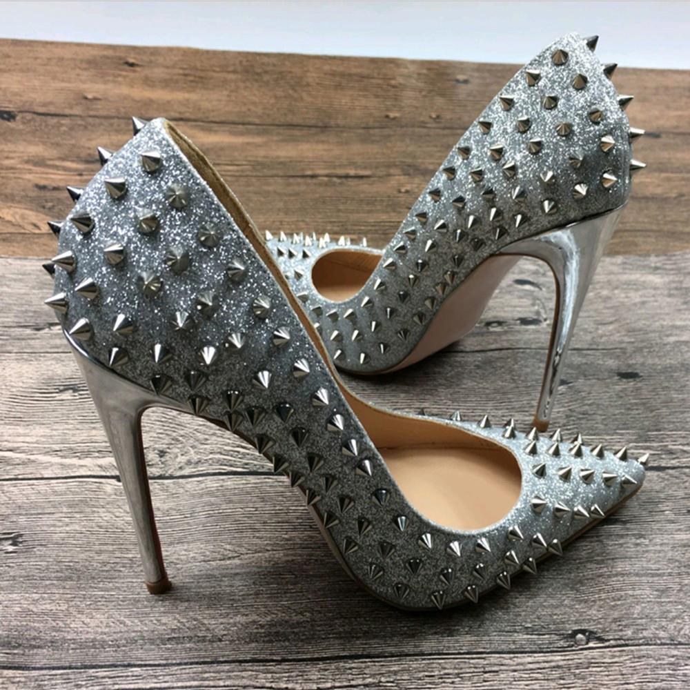 Deification Fashion Silberne Fersen Nieten beschlagene Damenschuhe Sexy Bling Luxus High Heels Slip auf Damen italienische Hochzeitsschuhe