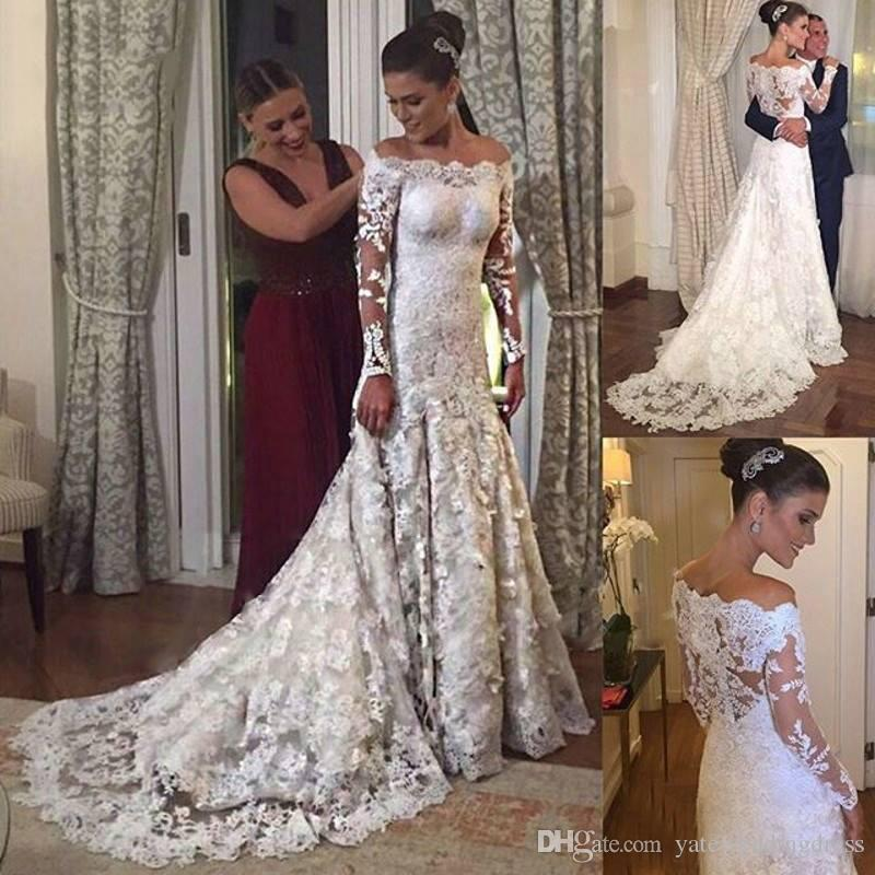 2018 White Lace Mermaid Bridal Gowns Bateau Sexy Long Illusion Sleeves Wedding Dresses With Applique Back Zipper Custom Made Wedding Gown