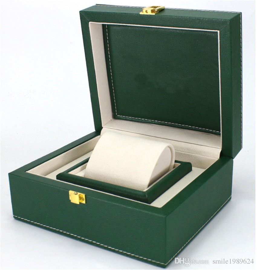 De gama alta Reloj de lujo Verde Cuero de LA PU Caja original Papeles de regalo Relojes Cajas bolsa Tarjeta Para caja de reloj Rolex