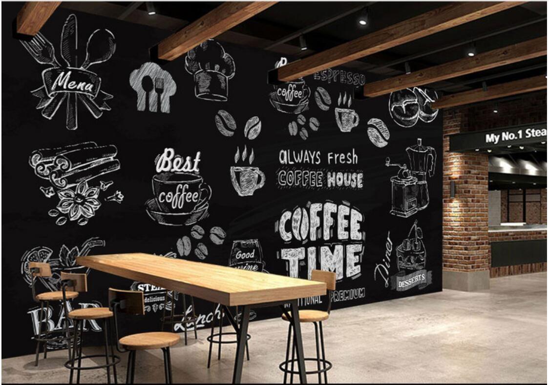 Vliestapete des kundenspezifischen Fotos der Raumtapete 3d Hand gezeichnete Kaffeenachtischraum-Tapetenwandbildtapete für Wände 3 d