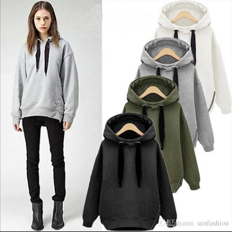 Новая Мода Балахон Уличная Хип-Хоп Черный Серый Капюшоном Толстовки Теплый Флис Пальто Куртки Дамы