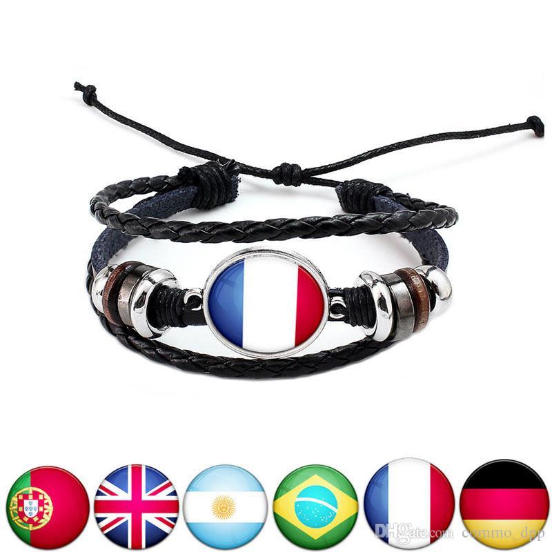 2018 Coppa del mondo di sport braccialetto 10 bandiere nazionali fascino nero intrecciato in pelle regolabile braccialetto per le donne Fashion Fans gioielli