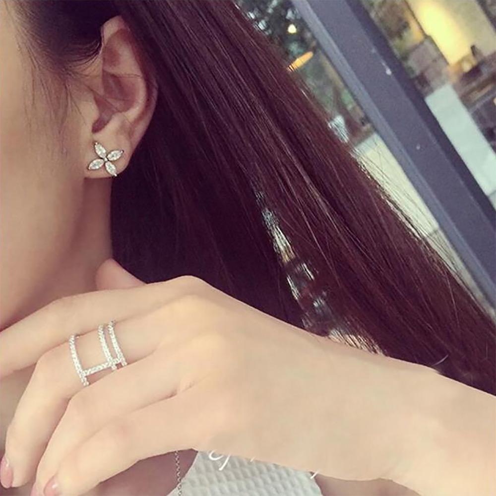 TOMTOSH Кристалл цветочный дизайн уха манжеты Циркон серьги