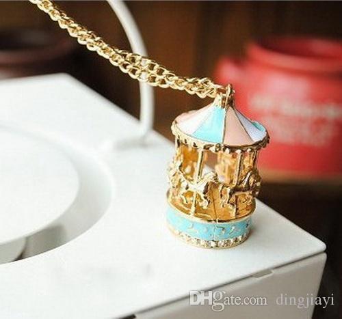UK/_ Sweet Enamel Carousel Merry Go Round Horse Charm Pendant Sweater Chain Neckl