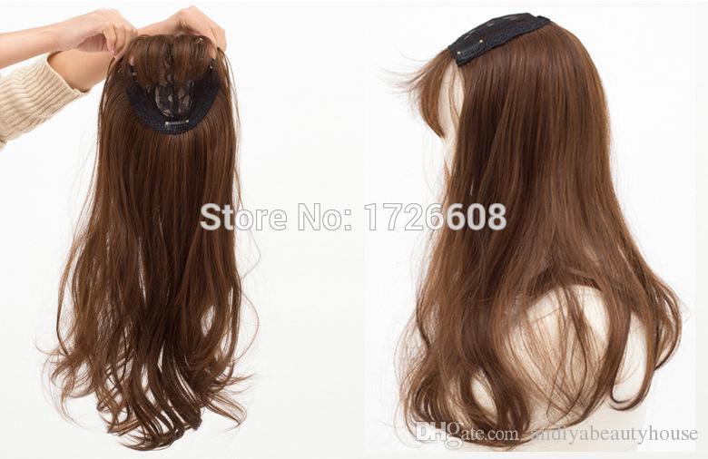 Topper Calidad remy Clip de cabello sintético en toupee Toupee de pelo largo de mujer con franja aseada Cierre de pelo de encaje Envío gratis