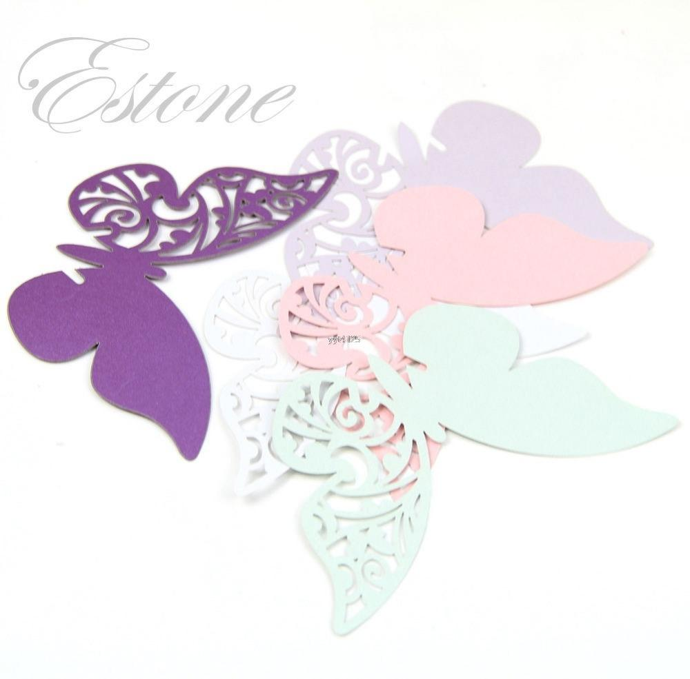 50pcs Table Mark Wine Glass Butterfly Name Place Cards Wedding Party Favor