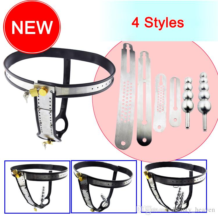4 Styles Stainless Steel Female Underwear Chastity Belt Devices with Anal Plug Adult Sex Toys Thong Pants For Women