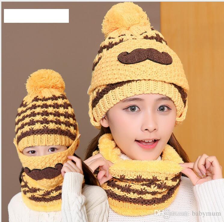 winter warm crochet hats mask neckerchief 3pcs/set winter cycling skiing sport knitted beanies for baby women new style plush earmuffs hat