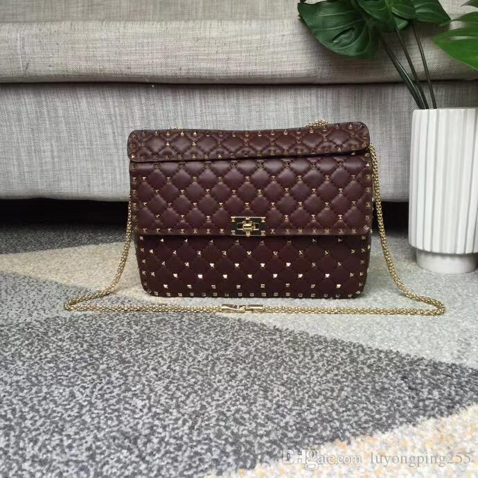 Novo W30cm Borgonha Mulheres Top Moda Bolsa De Ombro De Couro De Couro De Carneiro Rebites Saco De Grife Bolsa De Noite Bag