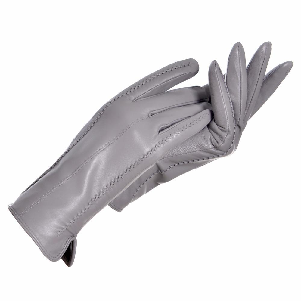 YCFUR Genuine Leather Gloves Women Warm Lady Genuine Sheepskin Gloves Warm Lining Winter Female Gloves Leather D18110705