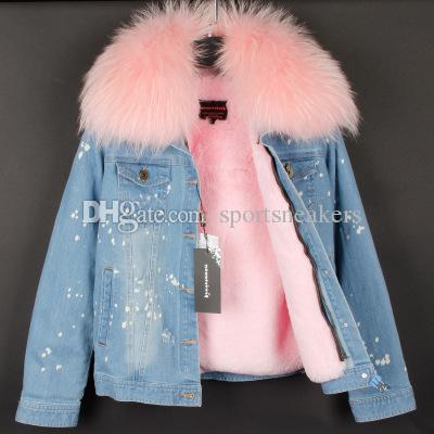 @sportsneakers fashion Blouson en jean effiloché pour femmes avec col en fourrure grand raton laveur doublure chaude en fourrure de velours