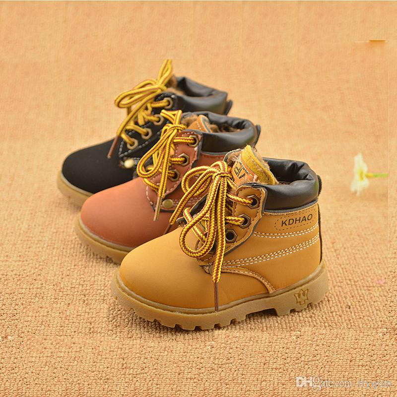 New 2019 Children Kids Baby Boys Winter Keep Warm Plus Velvet Matin Boots For Boys Girls Toddler Shoes Short Snow Boots Lace UP SnowBoots Winter Boots