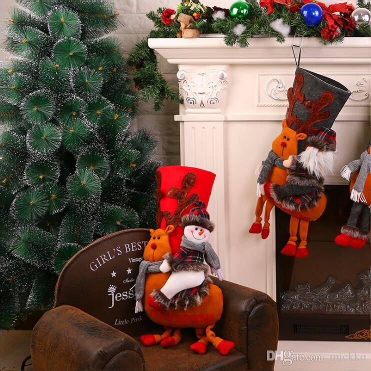 Yüksek dereceli Noel Ağacı Karikatür Noel Baba Kardan Adam Çorap Dekorasyon Büyük Ev Dükkan Sevimli Geyik Sürme Noel Çorap