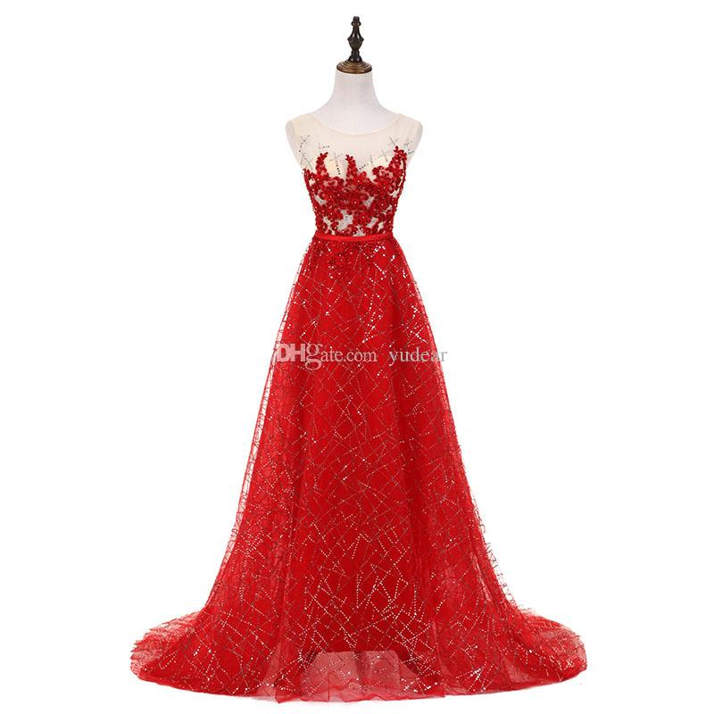 2019 Sexy Sccop A-line Sweep Train Evening Dresses Shining Beadings Appliques Red Crystals See Through Back Prom Gowns