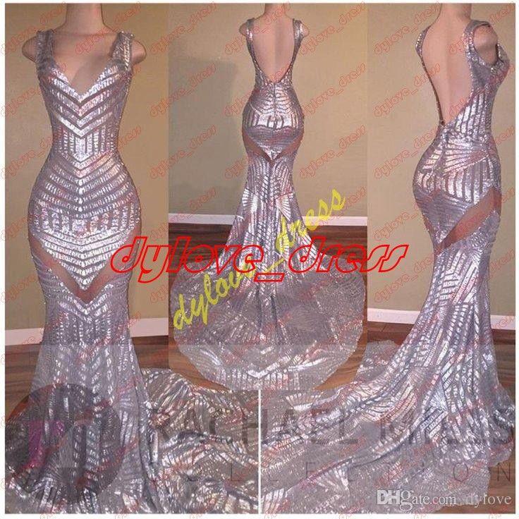 2021 Sexy bon marché élégant Plus taille Vestido de Festa à paillettes Longues robes de soirée PLUS Taille Silver Prom Robe