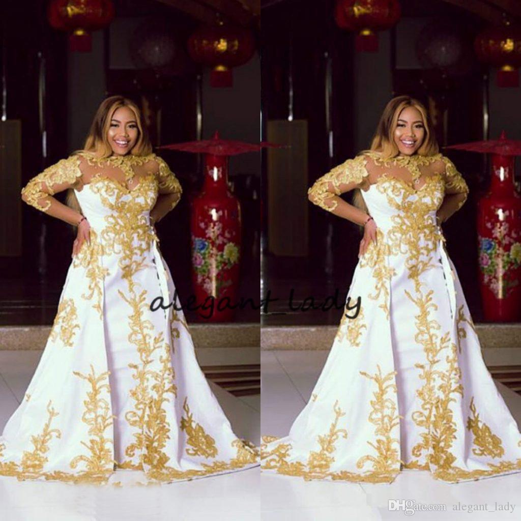 Plus Size Noite Vestidos formais com manga longa 2018 pura pescoço ouro brilhante laço applique Dubai Árabe Africano vestidos de baile