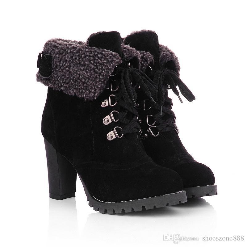 Art und Weiseflockepelzfrauen-Knöchel stiefel für Frauenherbstwinterplattform-hohe Absätze schnüren sich oben Schnalledamen schließen Stiefel zv027 kurz