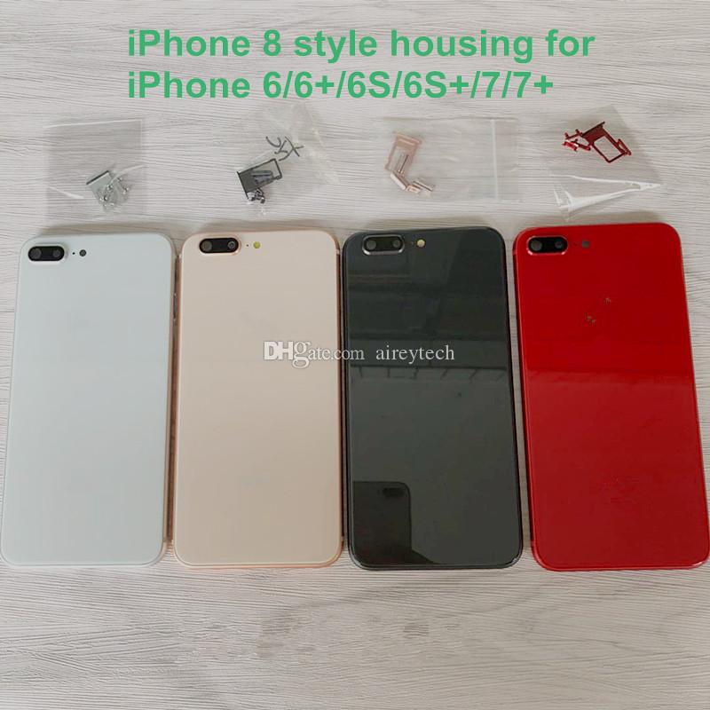 Für iPhone 6 6S 7 Plus-Rückseiten-Gehäuse iPhone 8-Art-Metallglas Battrry Tür Voll Red hintere Abdeckung wie 8+